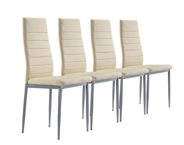 Lot de 4 chaises design en simili cuir BEIGE